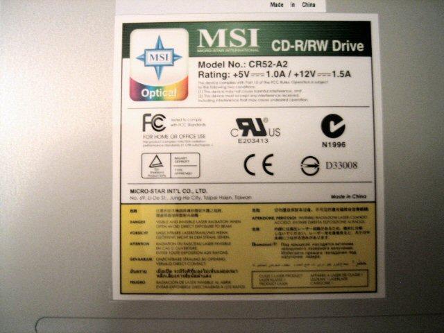 MSI CR52-A2 52/24/52 CD-R/RW - Bjorn3D com