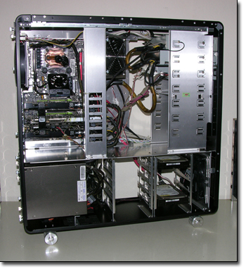 Lian Li PCV2010 with everything installed except water cooling kit