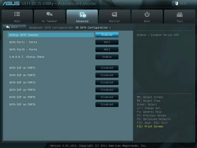 Пункт SATA Configuration выводит информацию о подключённых к портам SATA 6