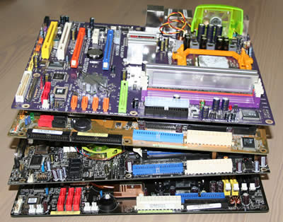 Stacks of motherboards