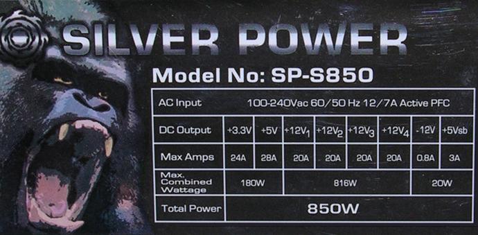 SilverPower_SP-S850_Specs