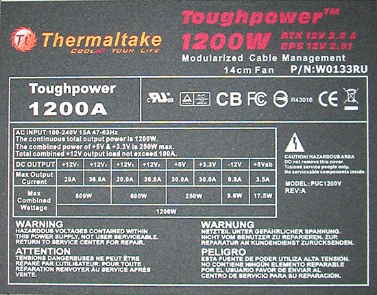 Thermaltake Toughpower W0133RU 1200W PSU Top Sticker