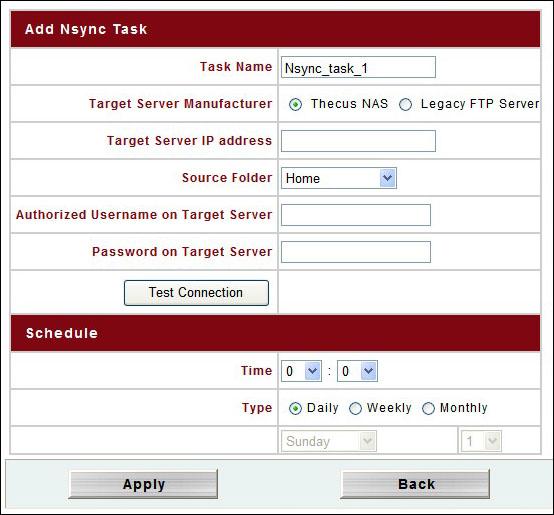 Thecus_N4100Pro Nsync Add Task