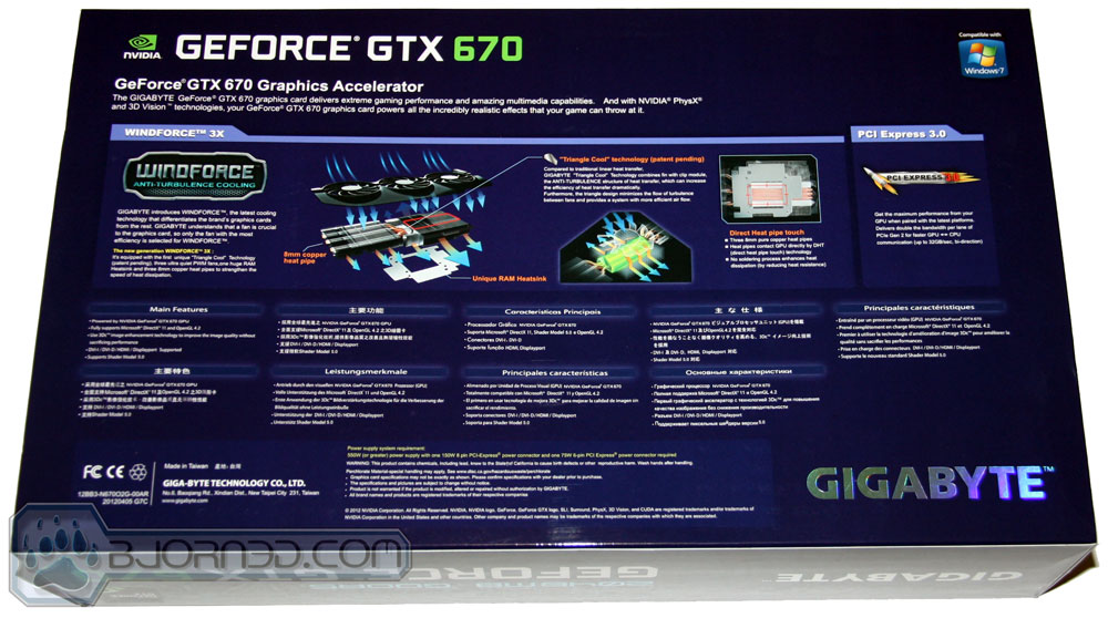 GIGABYTE GTX 670 OC Box Back