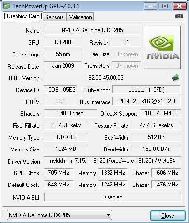 LeadTek WnFast GTX285 GPU-Z