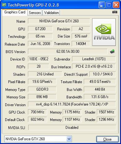 LeadTek WinFast GTX260 Extreme+ Overclocked CPU-Z